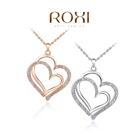 ROXI Brand Top Quality Rose Gold Color Necklaces Pendants Elegant Crystals Zirconia Jewelry Gifts for Women Ladies