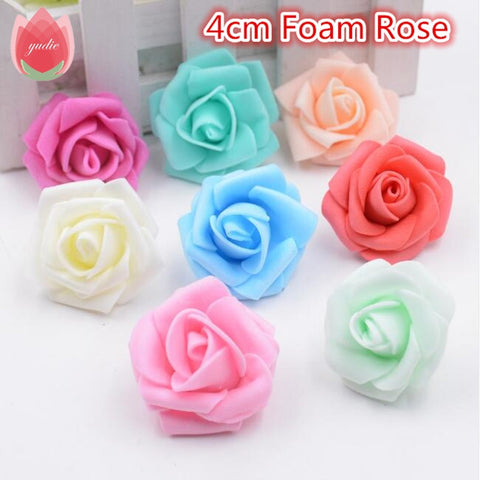 10pcs 4cm Handmade Foam Rose Artificial Flowers For Wedding Car Decoration Mariage Flores Rosa Scrapbooking Pompom Craft Flower