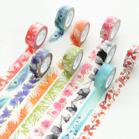 7M Japanese Cute kawaii Colorful Flowers Leaf Masking Washi Tape Decorative Adhesive Tape Diy Scrapbooking School Office Supply