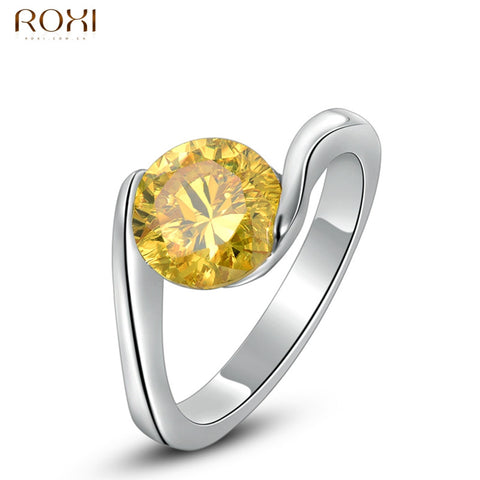 2016 ROXI Women Fashion Crystal Zirconia RinROXI Womens Exquisite Wedding Ring Elegant Ladies Bridal Rings Jewelry Size 6 7 8