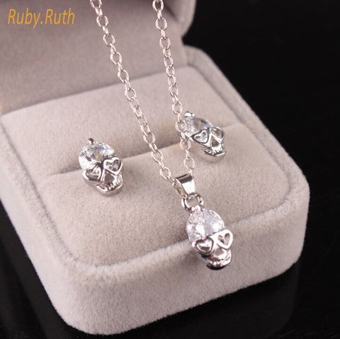 Jewelry Sets Trendy Gorgeous Fashion Skeleton Skull With Crystal Pendant Necklaces and Earrings For Woman Jewelry Gift