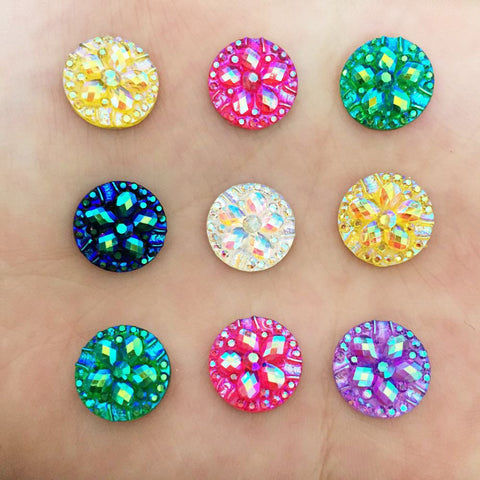 DIY 40PCS 12mm AB Resin Round Flower Rhinestone Flatback Scrapbooking for Phone DIY Craft K14