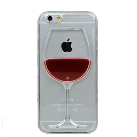 2015 Red Wine Cup Liquid Transparent Case Cover For Apple iPhone 6 6s 6 Plus  Phone Cases Back Covers
