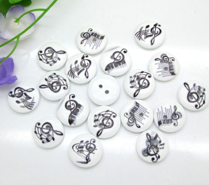 Diy Craft 100pcs Black Musical Notes White 2 Holes Wooden Decorative Buttons Sewing Accessories Cabochons Scrapbooking 15mm
