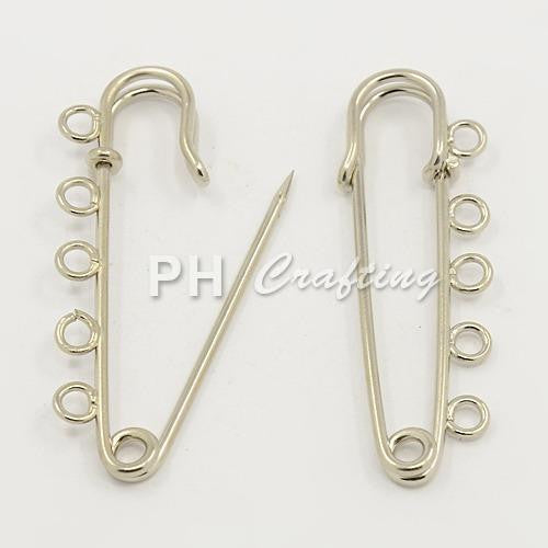 "Iron Kilt Pins Brooch Findings Silver 16x50mm ( about 0.62""x1.96"") Fit Craft DIY Findings Accessories Supplies"