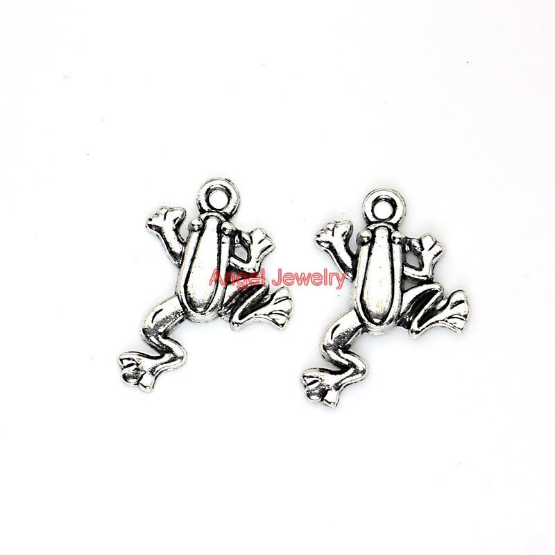 Frog Charms Tibetan Silver Plated  Jewelry Making Craft DIY Handmade 23x19mm C113