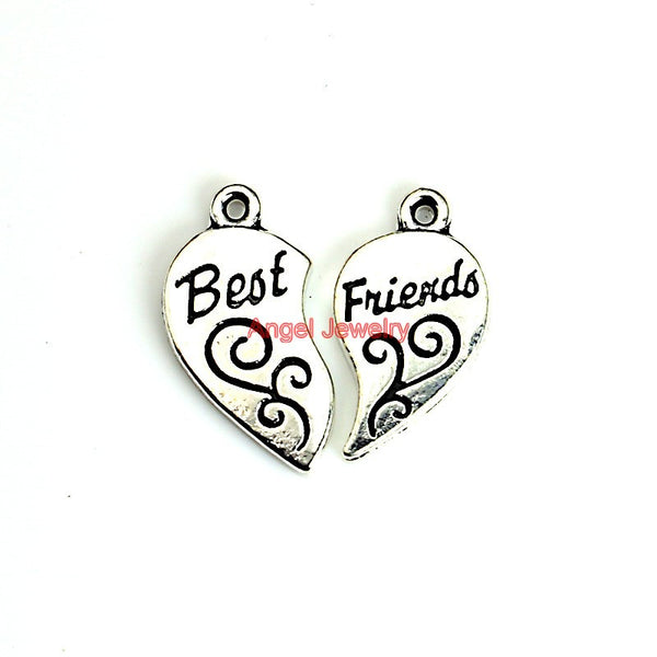 Best Friends Heart Charms for jewelry making DIY 22x12mm C0106