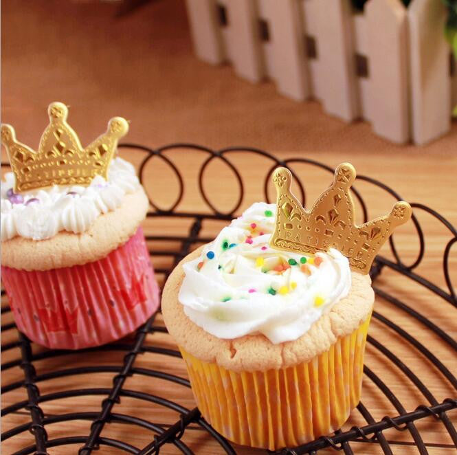 golden crown cake toppers paper cards banner for Cupcake Wrapper Baking Cup wedding birthday tea party decoration Wholesale