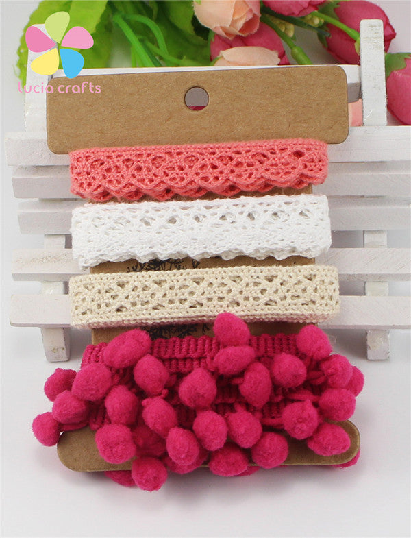 Cotton pompom ribbon set trimming for patchwork crafts DIY accessories