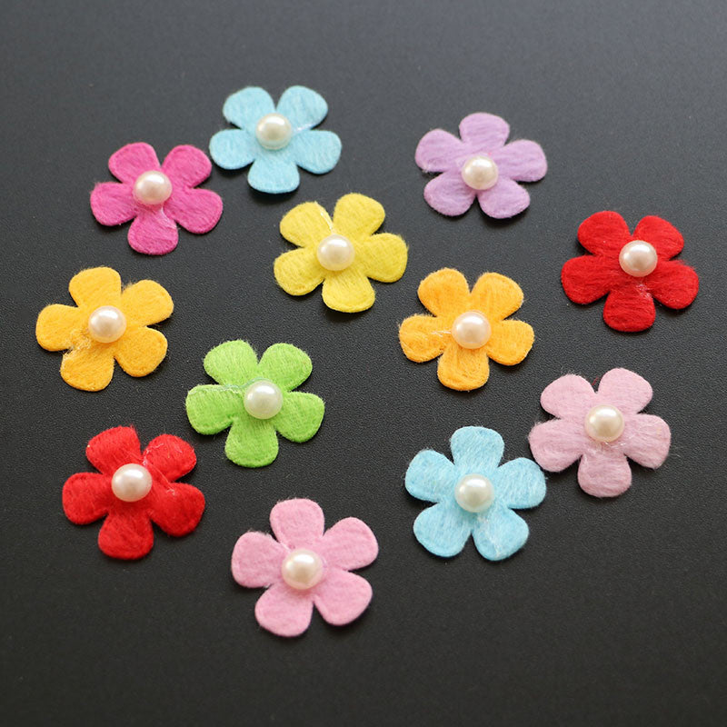 DIY CRAFT<50PCS/LOT>Colored flower patch felt applique with pearl decor for clothes hats accessories diy craft