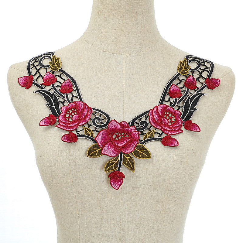 Pink Embroidery Polyester Long Sew DIY Accessories Craft Collar Applique Patches Neckline Venise Lace Fabric Gift
