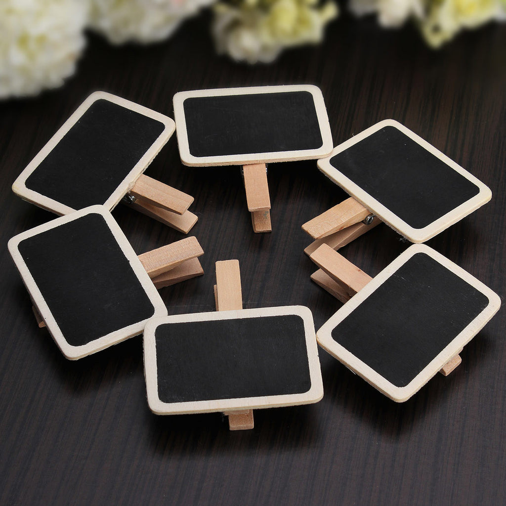 Mini Blackboard Chalkboard Pegs Wooden Message Labels Holder Clips Wedding Home Decorative Crafts Events Party Supplies