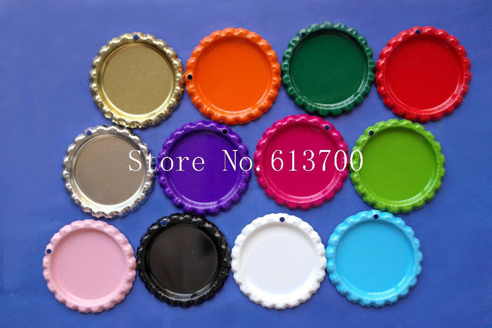 Free Shipping 100 Pcs/Lot Both Side Colored Flattened Bottle Caps WITH HOLE Flat Bottlecaps For Crafts & Jewelry Accessories
