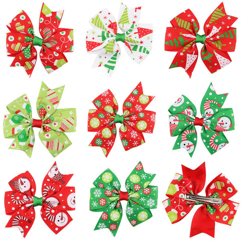 Luck Dog Baby Girls Christmas Ornaments Bowknot Hairpin Headdress