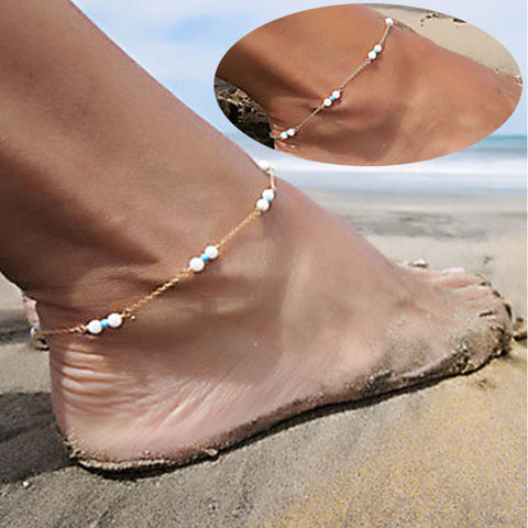 Luck dog Womens Girls Handmade Bead Chain Anklet Foot Leg Chain Bracelet