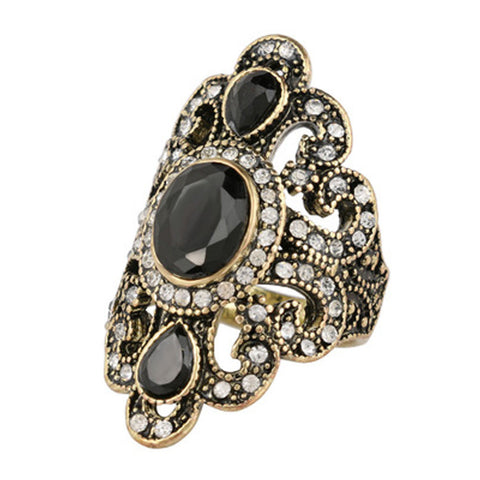 Antique Gold Rings for Women Vintage Fine Jewelry Black Red  Resin Stone Strass Bohemian Turkish Ring female Ethnic Punk Fashion