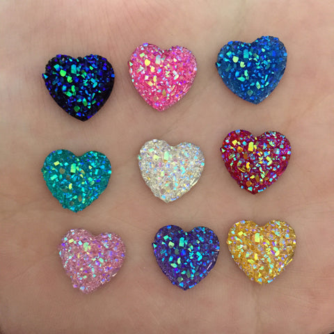 (40 pieces/lot) 12mm MIXED AB Resin Bling Sweet heart flatback Scrapbooking for phone/Wedding D50A