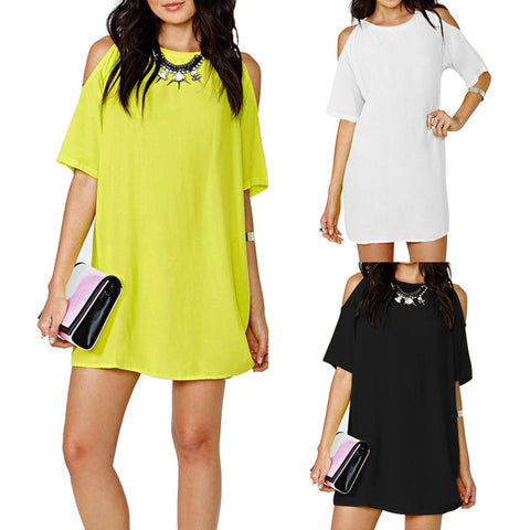 Plus Size Fashion Women's Loose Chiffon Short Sleeve Dress Casual Mini Dress 3 Colors HB88