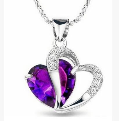 2016 New Best Gift Top Quality Fashion Class Women Girls Lady Heart Crystal Amethyst Maxi Statement Pendant Necklace NEW Jewelry