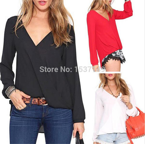 Blusa Feminina 2015 Summer Spring Hot Chiffon Shirt Women Blouses Red Black White Women's Tops Plus Size Fashion High Quality