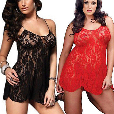 Sexy Women's Intimate Lingerie Lace Dress Babydoll Sleepwear G-string Plus Size
