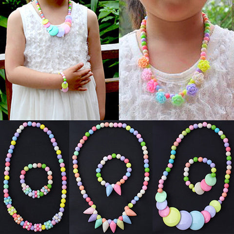 Hot sale! Baby Girls Colorful Beads Necklace Bracelet Set Handmade Flower Jewelry Gift AIWA