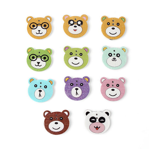 DIY Sewing Wooden Buttons 20pc 1.5mm Hole Boys Bear Scrapbooking Wood Button Craft Kids Clothing Accessories