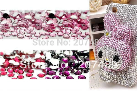 42 color 6mm 60PCS=1bag crystal Rhinestone Artificial diamond for cellphone mobile phone cases scrapbook jewelry DIY beads