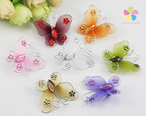 12pcs/lot 3.5*3.6cm Random mixed colours butterfly style Organza nylon wire Stocking flower 057004002