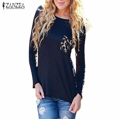 Oversized Blusas 2016 Autumn Women Casual Blouses Sexy Ladies Tee Tops Long Sleeve Leopard Patchwork Shirts US Plus Size 4-18