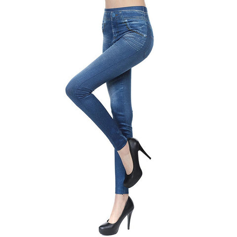 New 2016 Women Autumn Jeans Leggings Skinny Slim Thin High Elastic Waist Pencil Pants Black Denim Leggings For Women Plus Size H