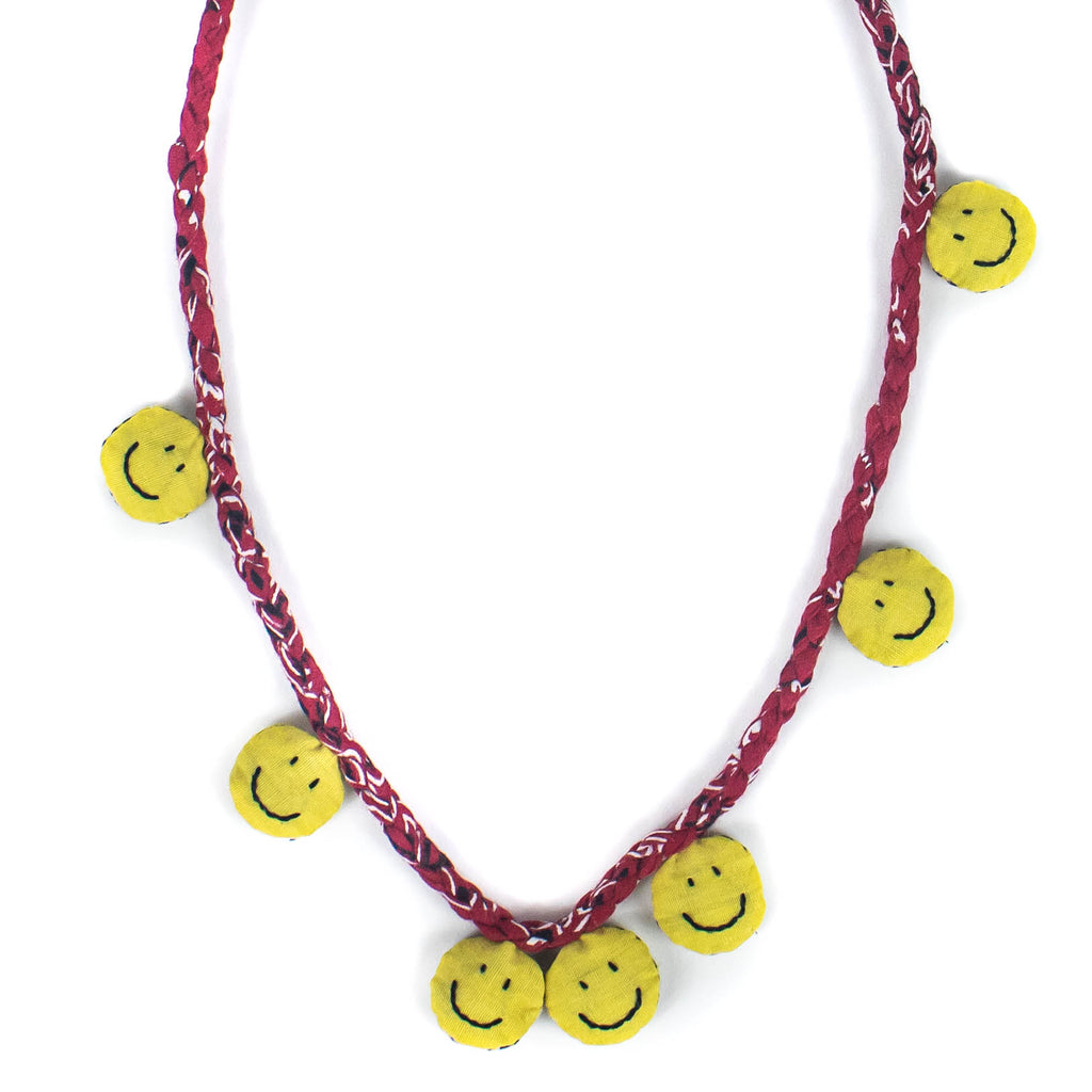 Bandana Smiley Necklace - Red