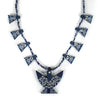 Bandana Thunderbird Squash Blossom Necklace - Navy