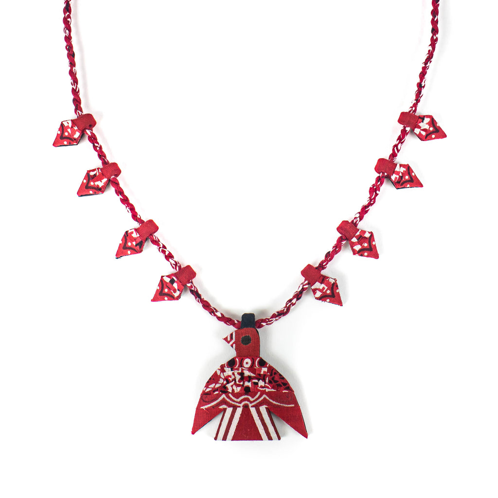Bandana Thunderbird Squash Blossom Necklace - Red