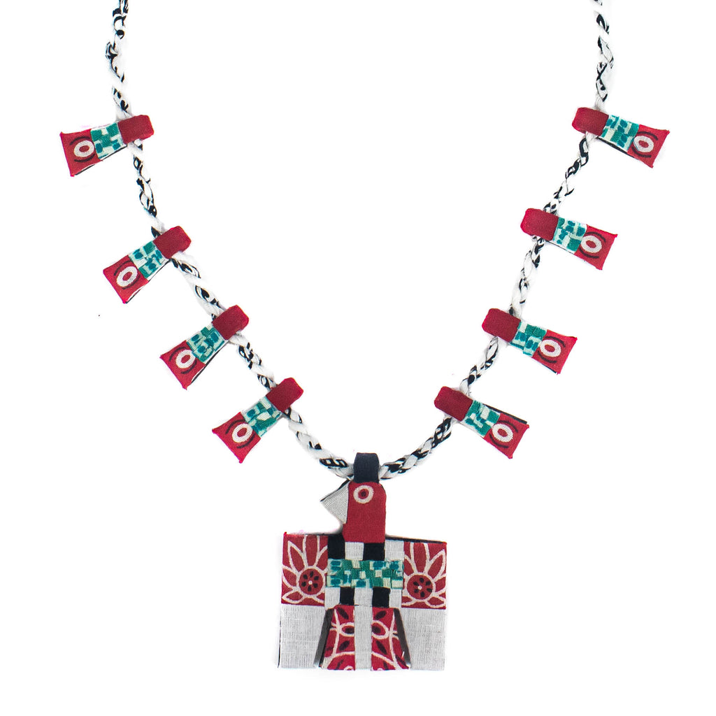 Bandana Thunderbird Squash Blossom Necklace - Multi color