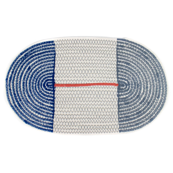 Cotton Stitched Rope Placemat- Blue/Grey
