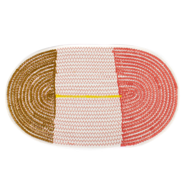 Cotton Stitched Rope Placemat- Pink/Ochre