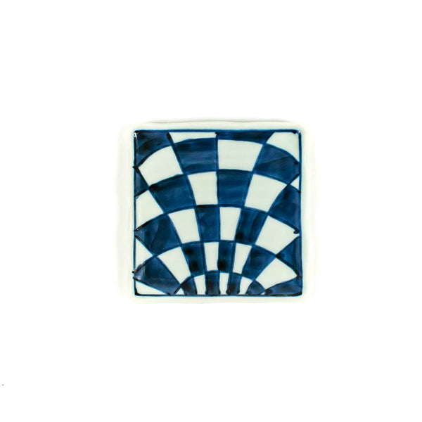Hand Painted Indigo Checker Square Dish - Japan