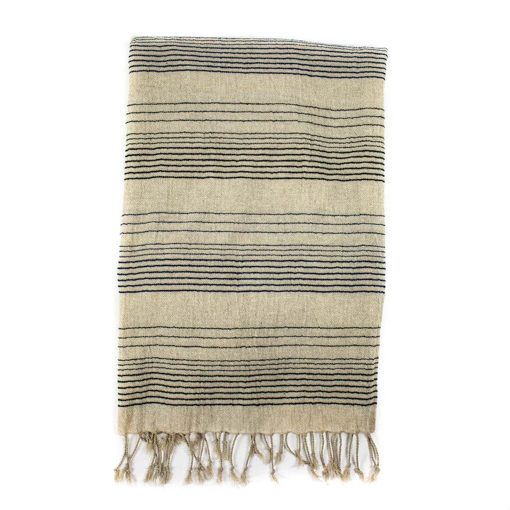 Linen Scarf - natural with navy stripe