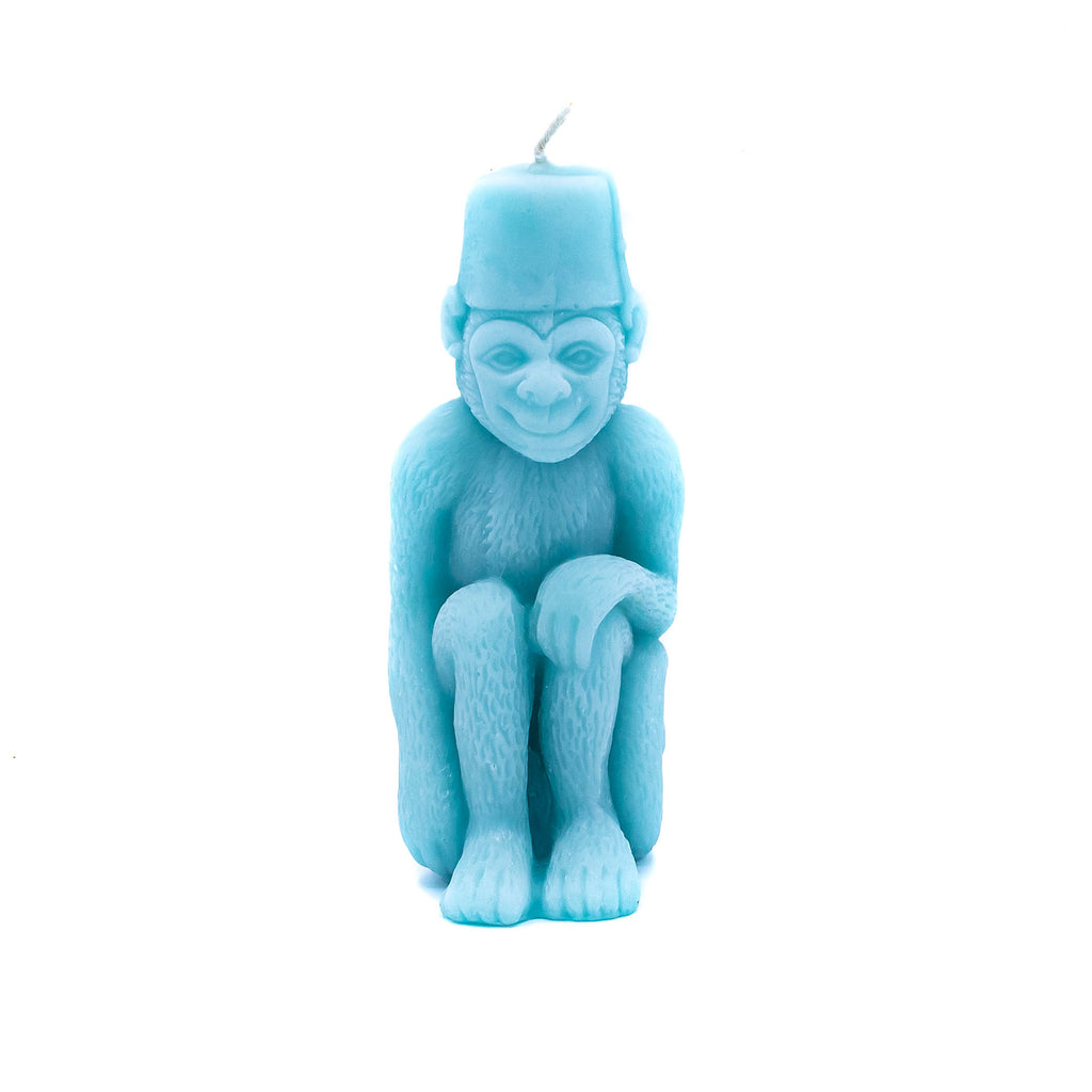 Monkey Candle - Robins Egg Blue