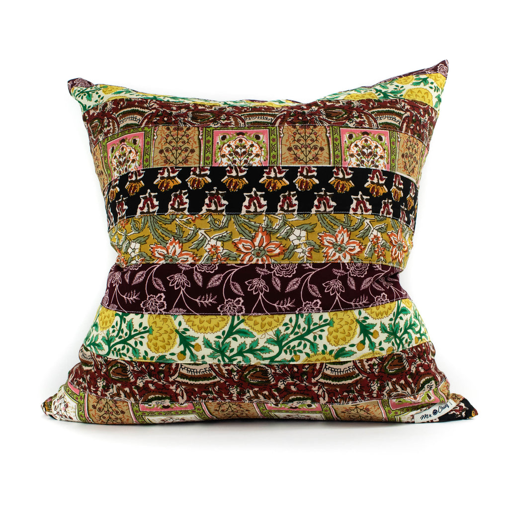 Mr. Chung - Floral Patch Work Pillow - Burgundy - November 19 Market