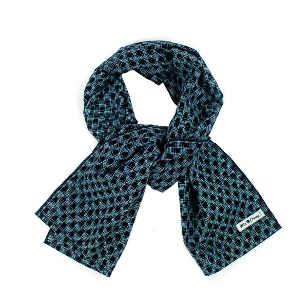 Mr. Chung Ikat Honey Comb Indigo Scarf