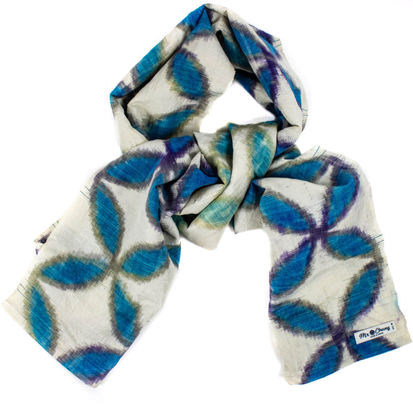 Mr. Chung Ikat Four Petal Silk Scarf
