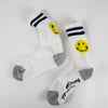 Mr. Chung Smiley Socks - Off White With Navy Stripe