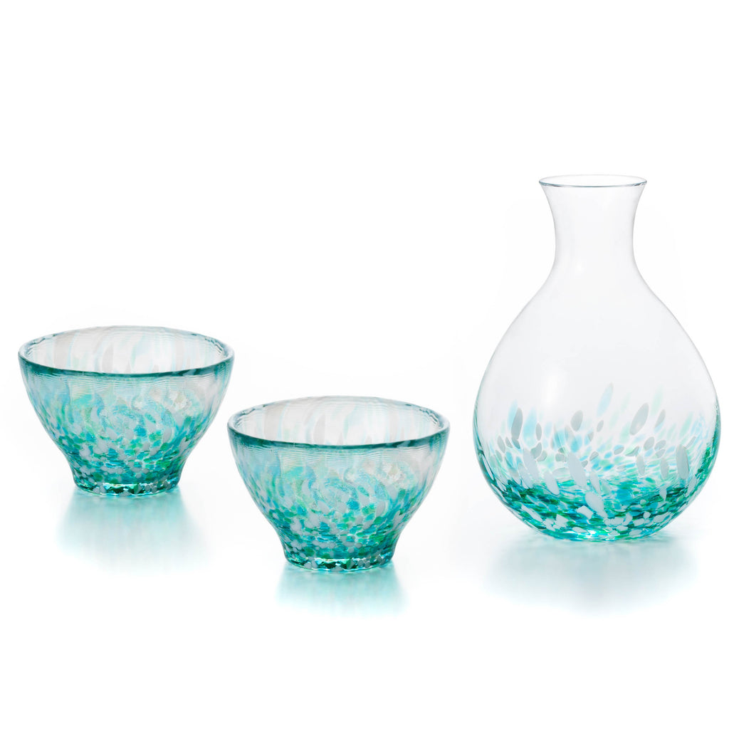 Nebuta Speckled Glass Sake Set - Teal