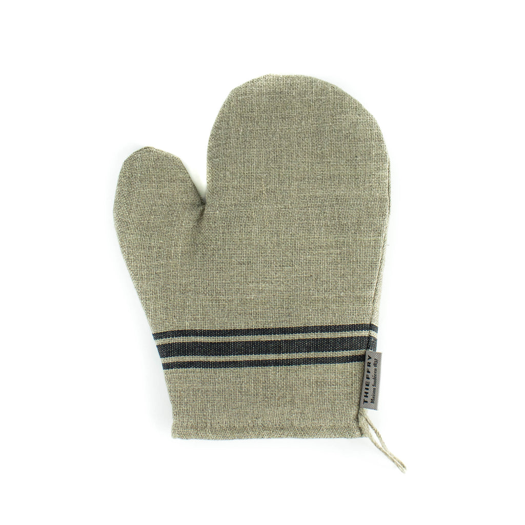 Thieffry Frères  - Oven Mitt- Natural with Black Monogram Stripe - November 19 Market