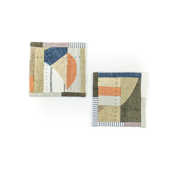 Multi-color Patchwork Coasters - Set of 2 - November 19 Market