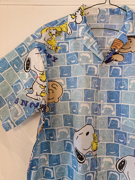Vintage Vintage Blue Snoopy and Charlie Camp Shirt