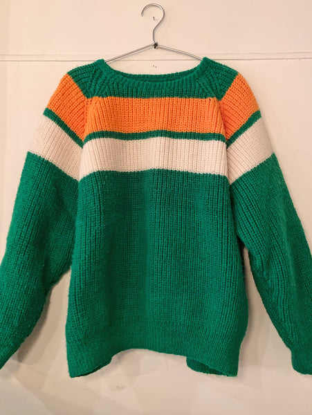 Vintage Green with Orange/Ivory Stripe  Wool Sweater