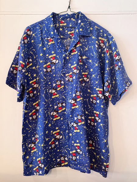 Vintage Mickey Star Camp Shirt - Blue